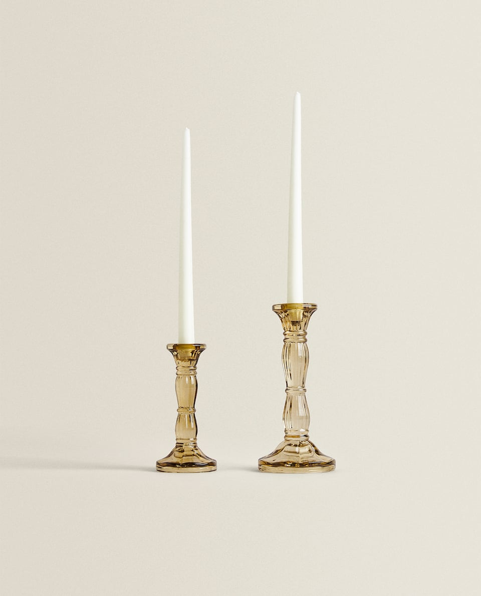 GREY GLASS CANDLESTICK