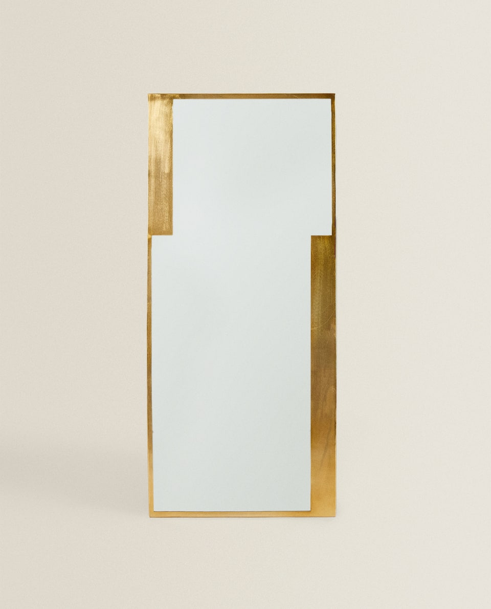 LARGE RECTANGULAR BRASS MIRROR