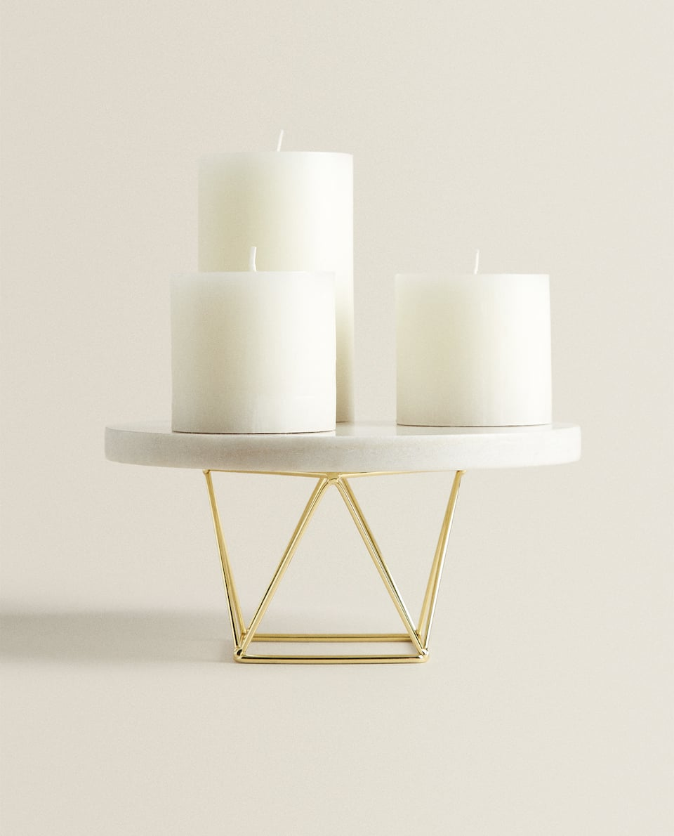 MARBLE AND METAL TEALIGHT HOLDER