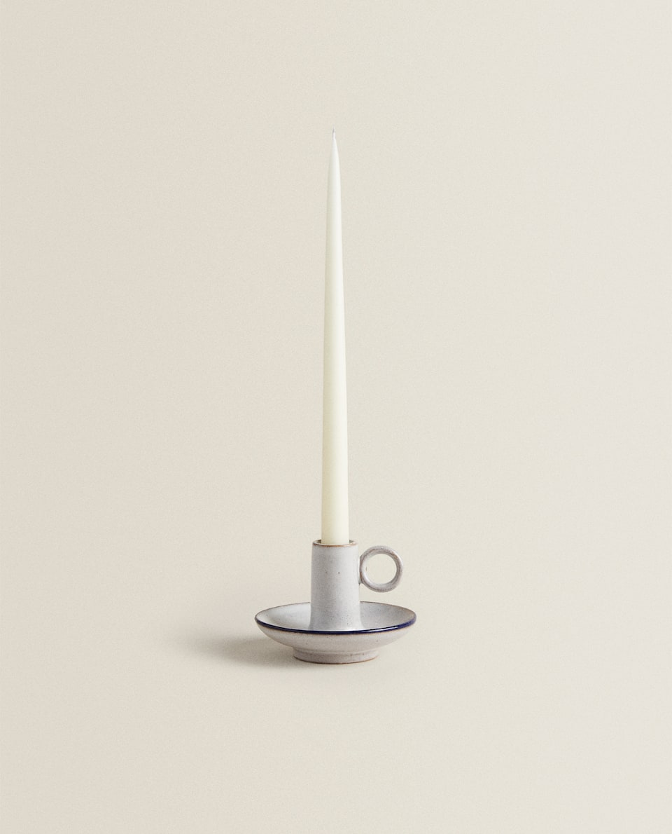 CANDLEHOLDER WITH BLUE EDGE