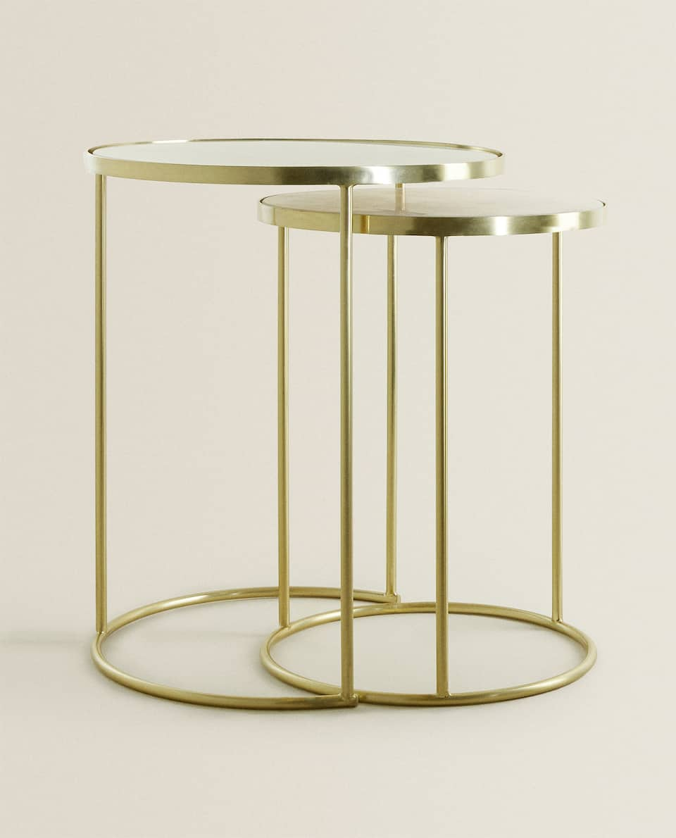 GOLD MARBLE NEST OF TABLES (SET OF 2)