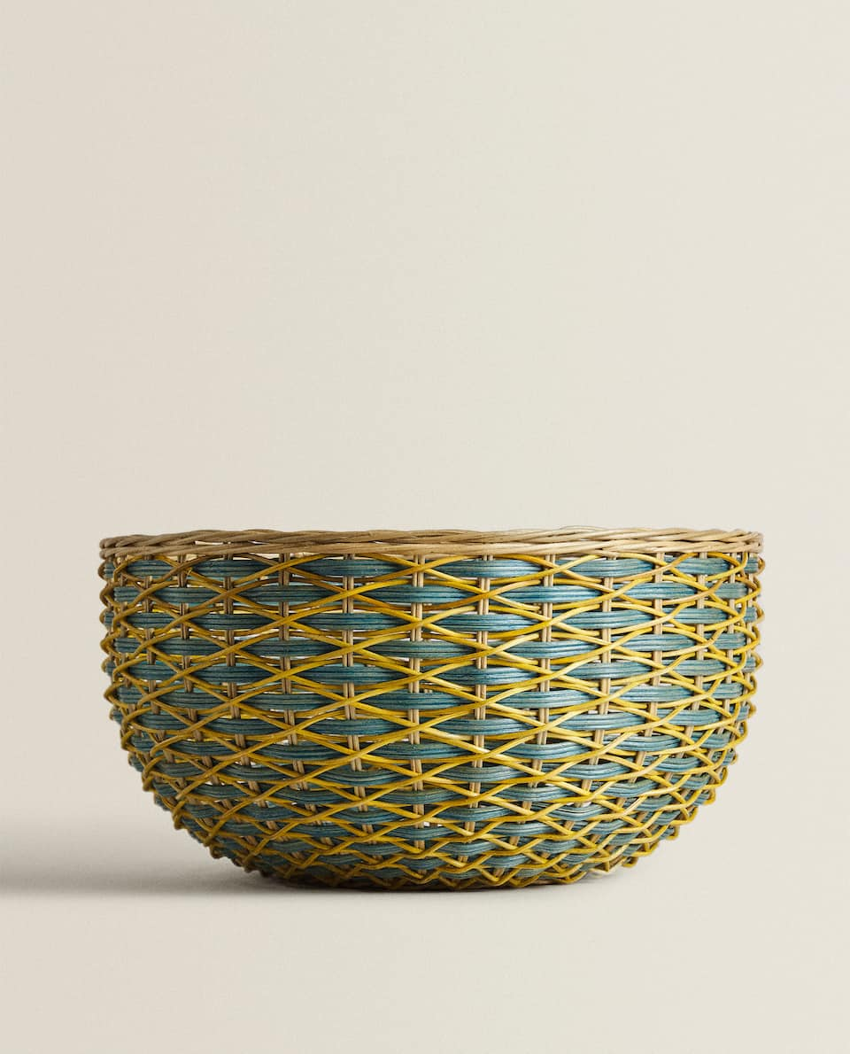 COLOURED WOVEN BASKET