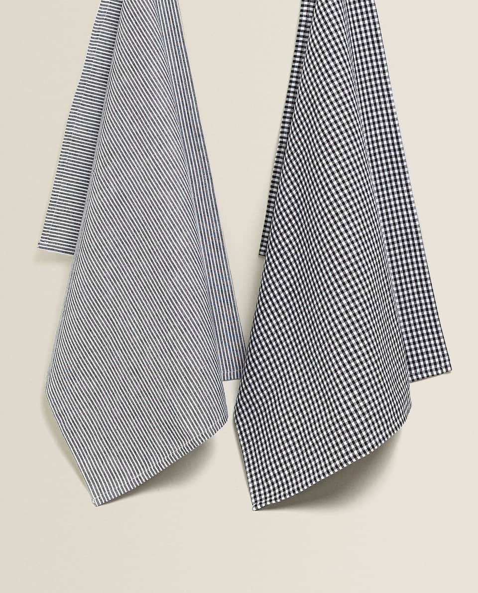 COTTON KITCHEN TOWEL WITH STRIPES AND CHECKS (PACK OF 2)