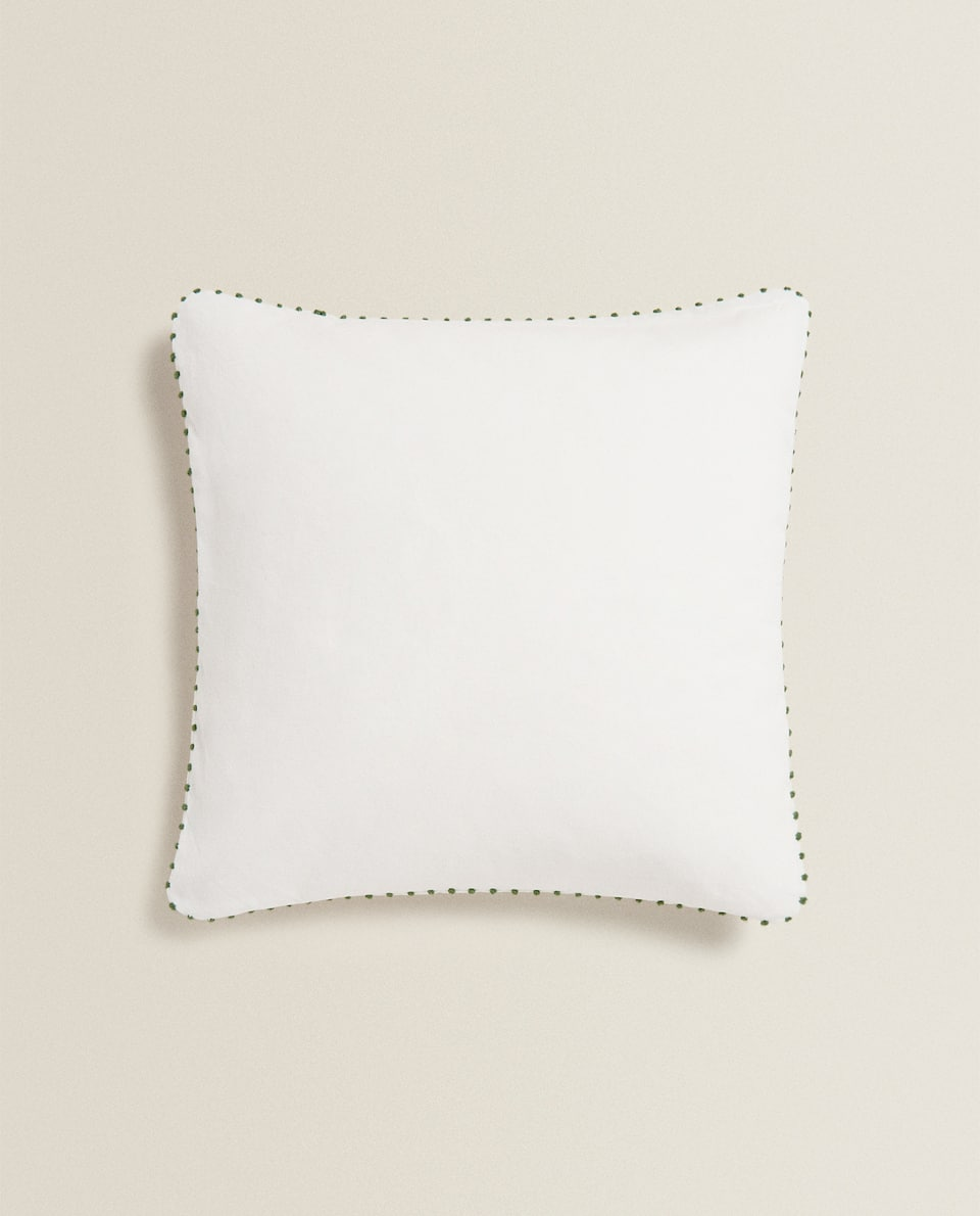 WHITE CUSHION COVER WITH TOPSTITCHING