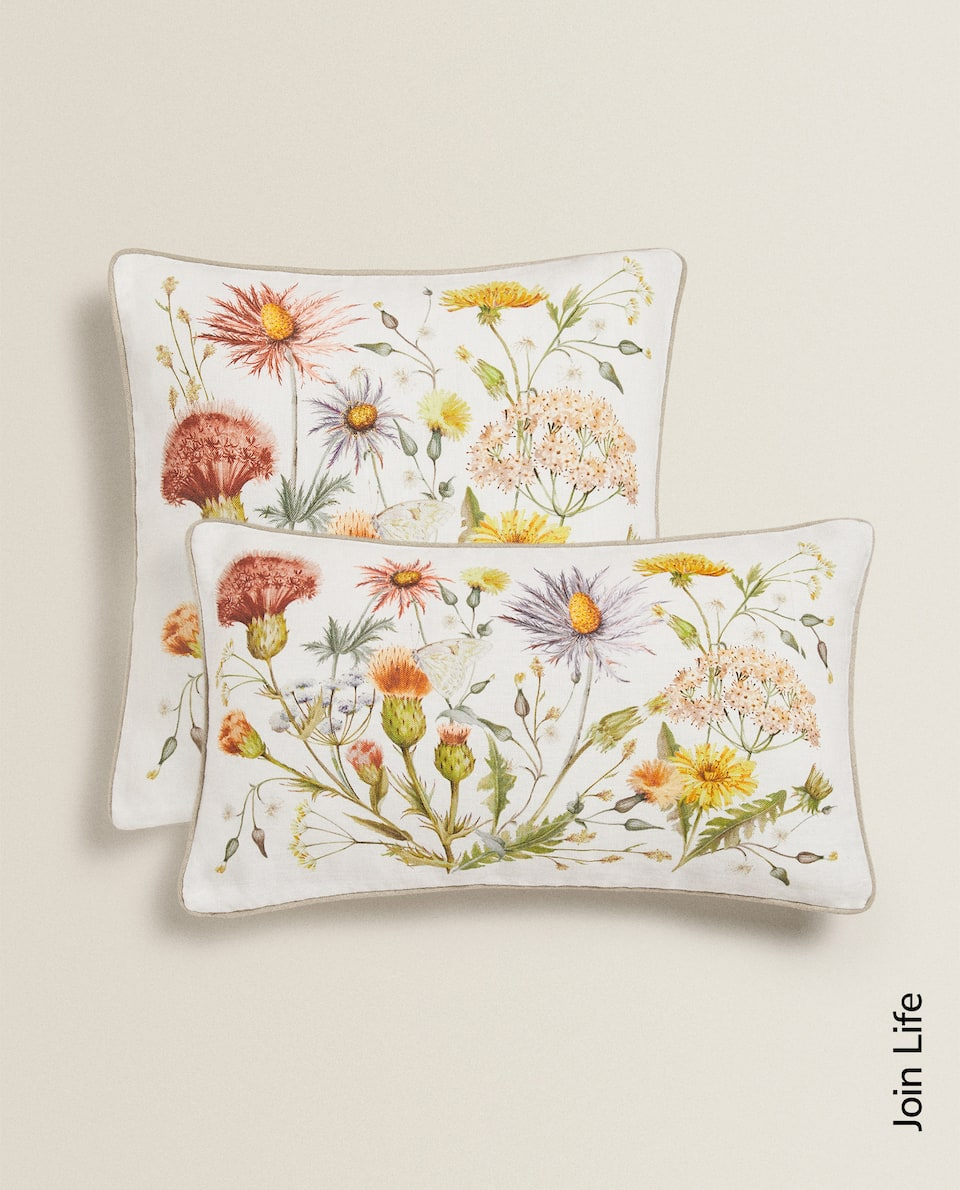 FLORAL PRINT LINEN THROW PILLOW