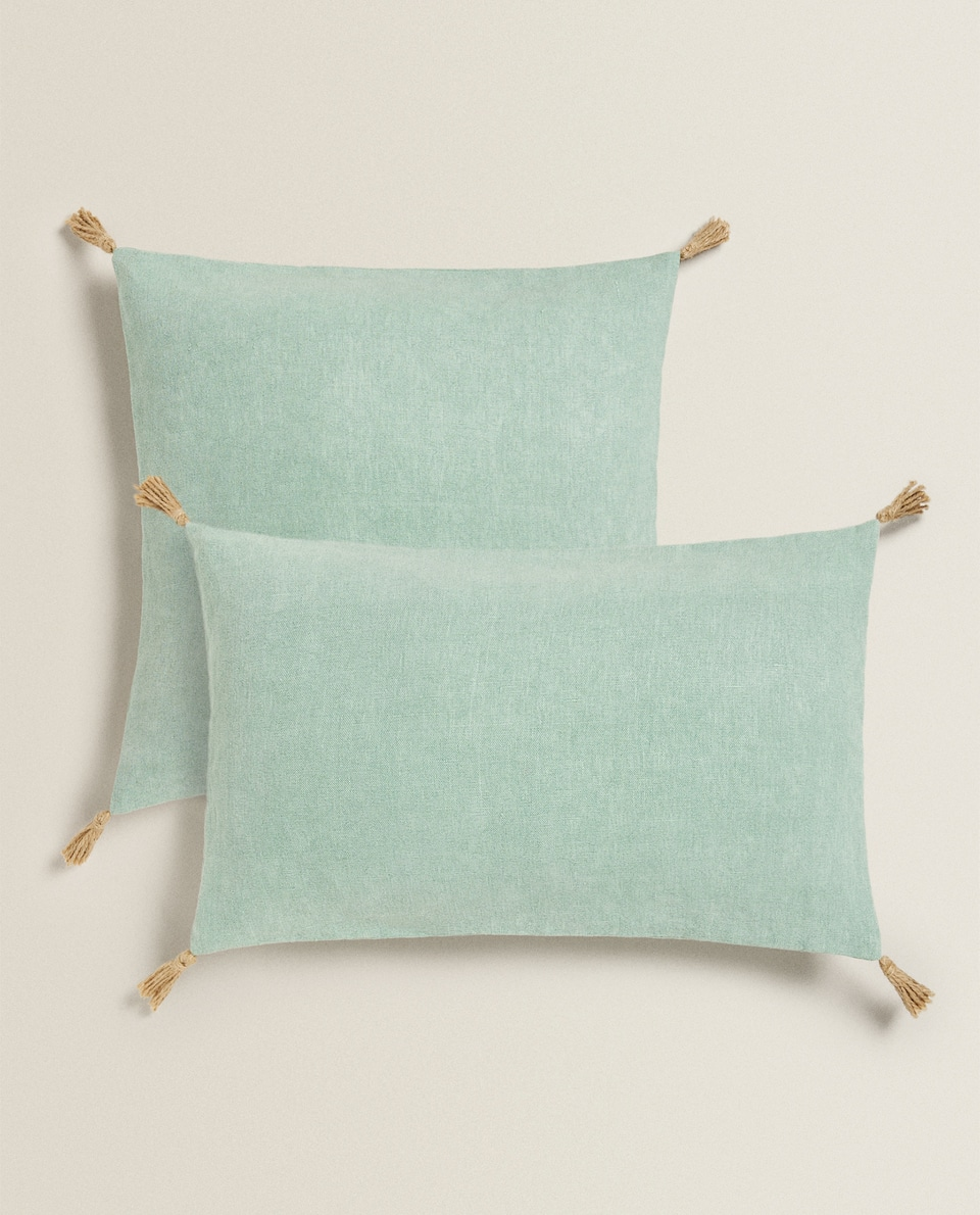TASSELS LINEN CUSHION COVER