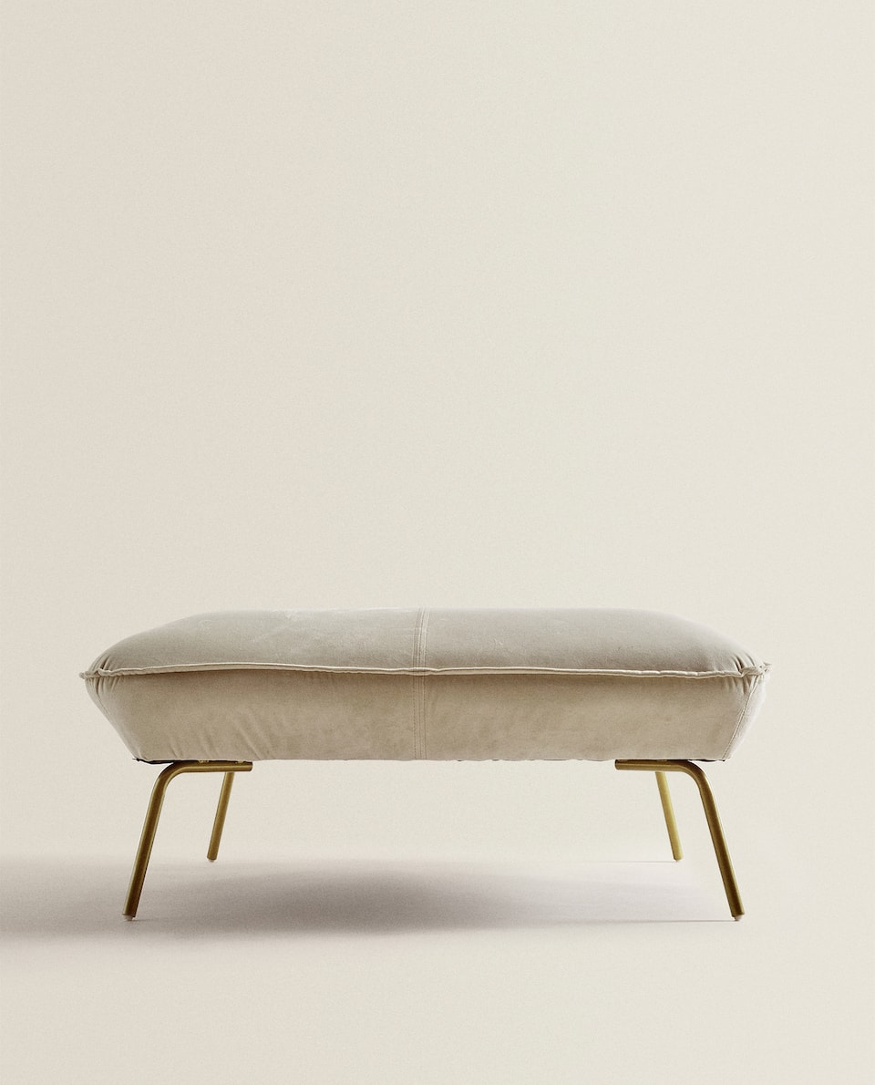 UPHOLSTERED BENCH WITH GOLD LEGS