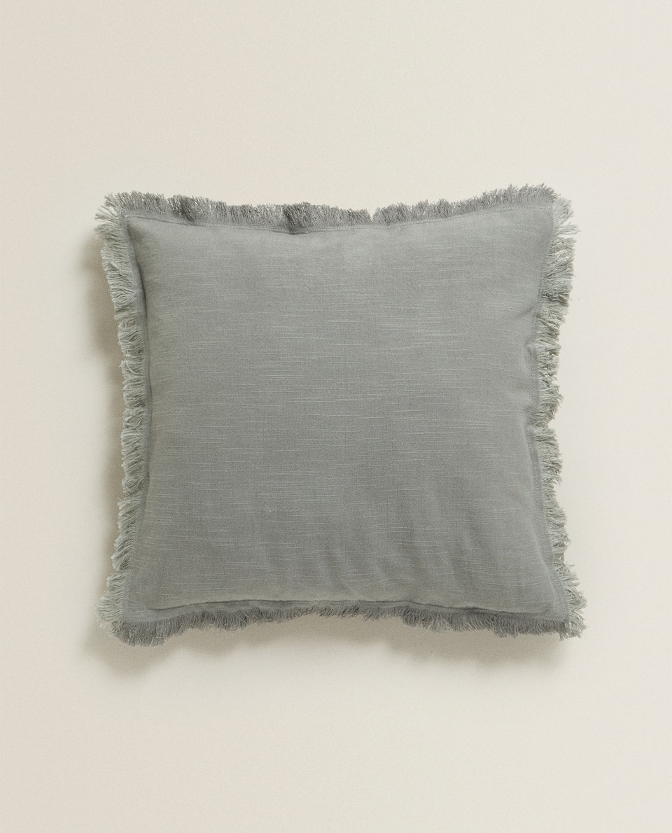 COTTON THROW PILLOW WITH FRINGE