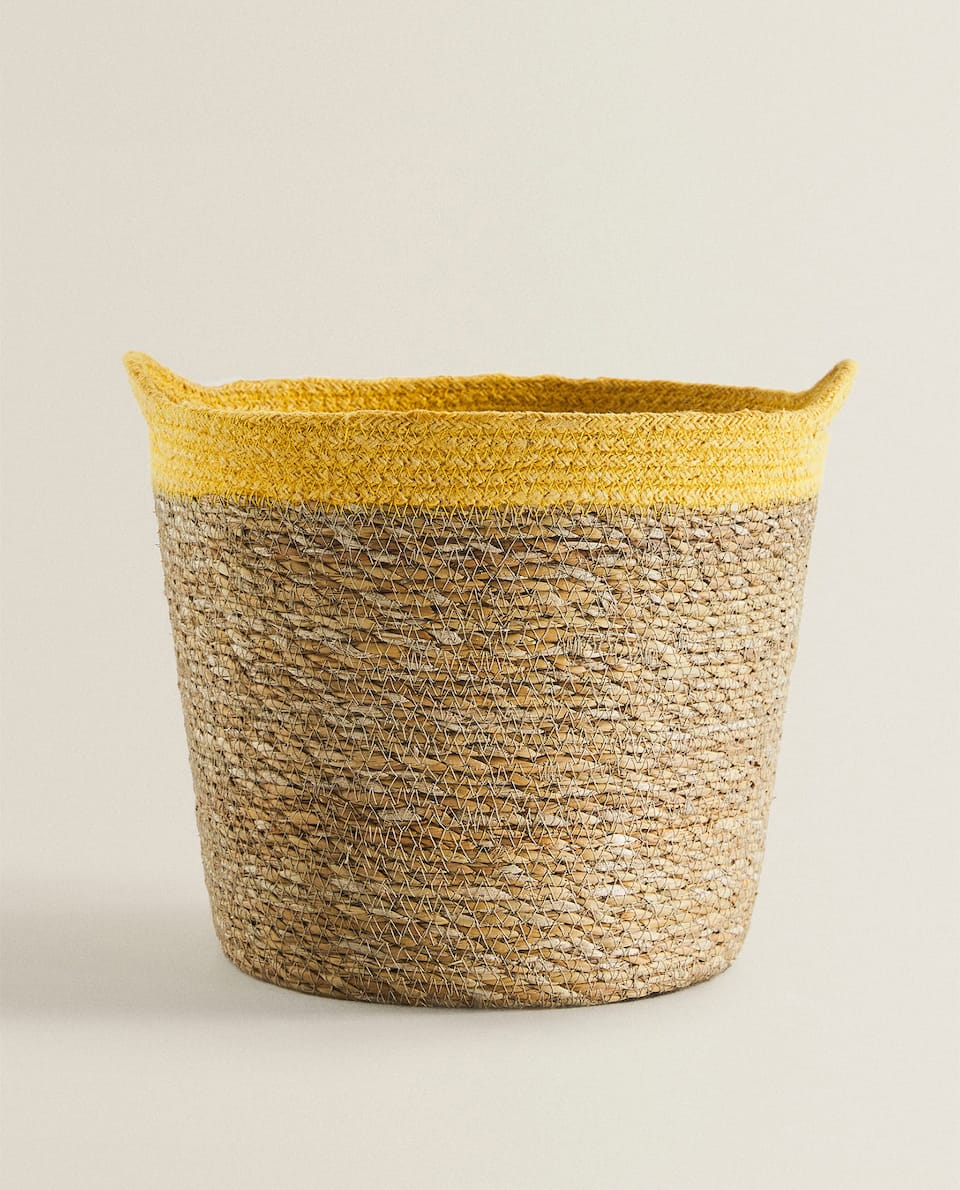 WOVEN BASKET WITH TRIM