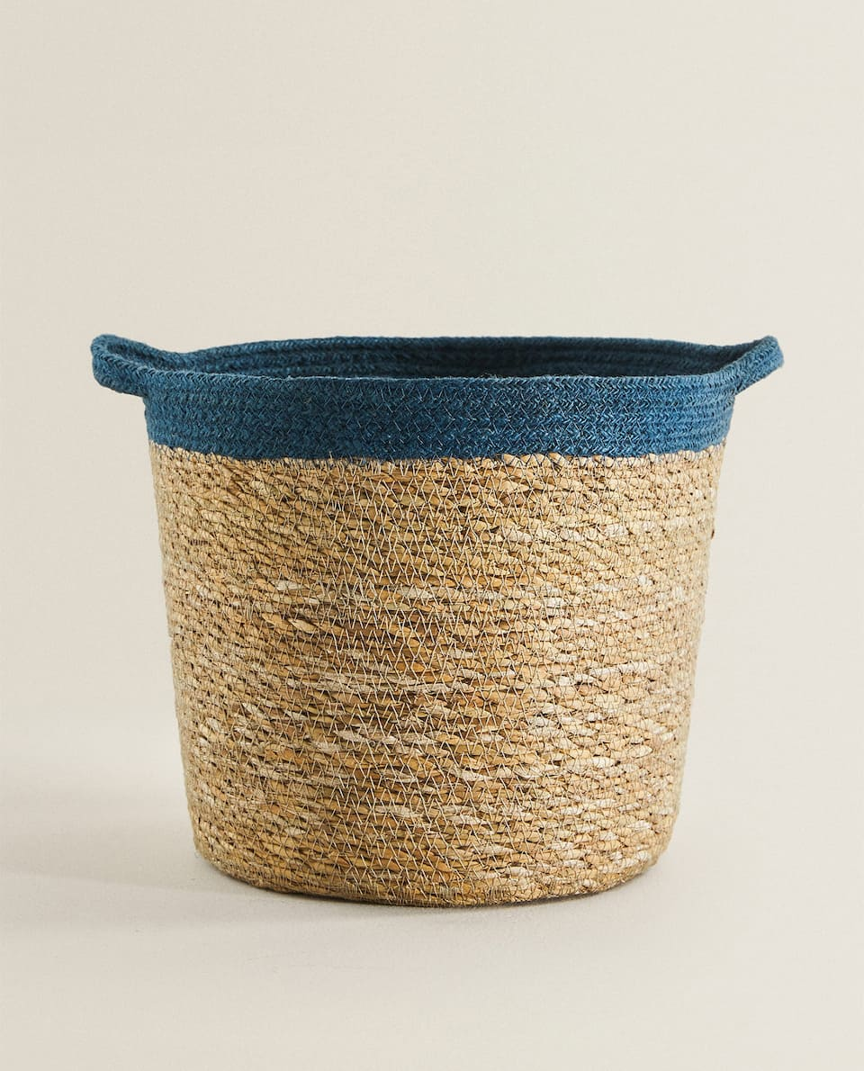 JUTE BASKET WITH STRIPE DETAIL