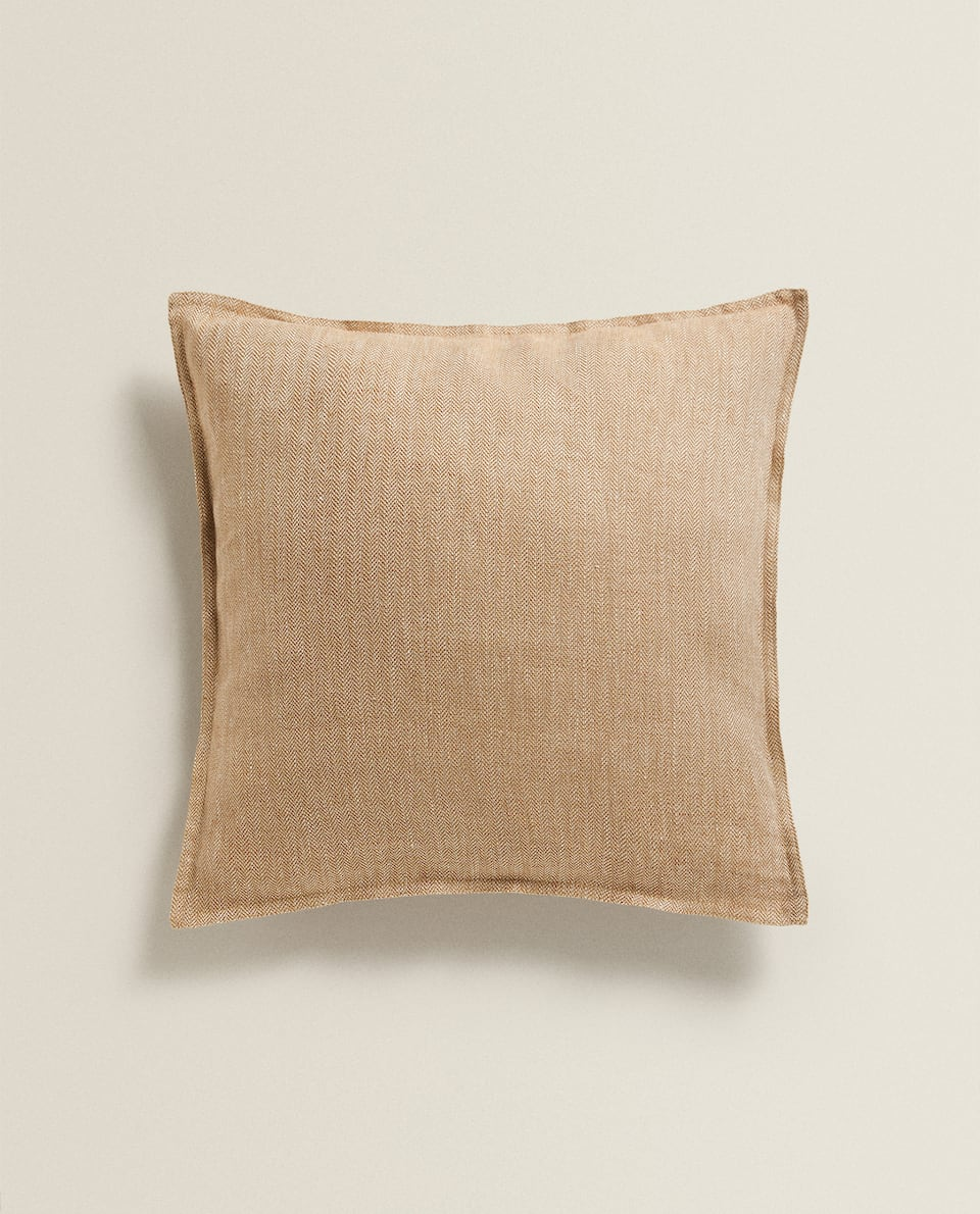 HERRINGBONE LINEN CUSHION COVER
