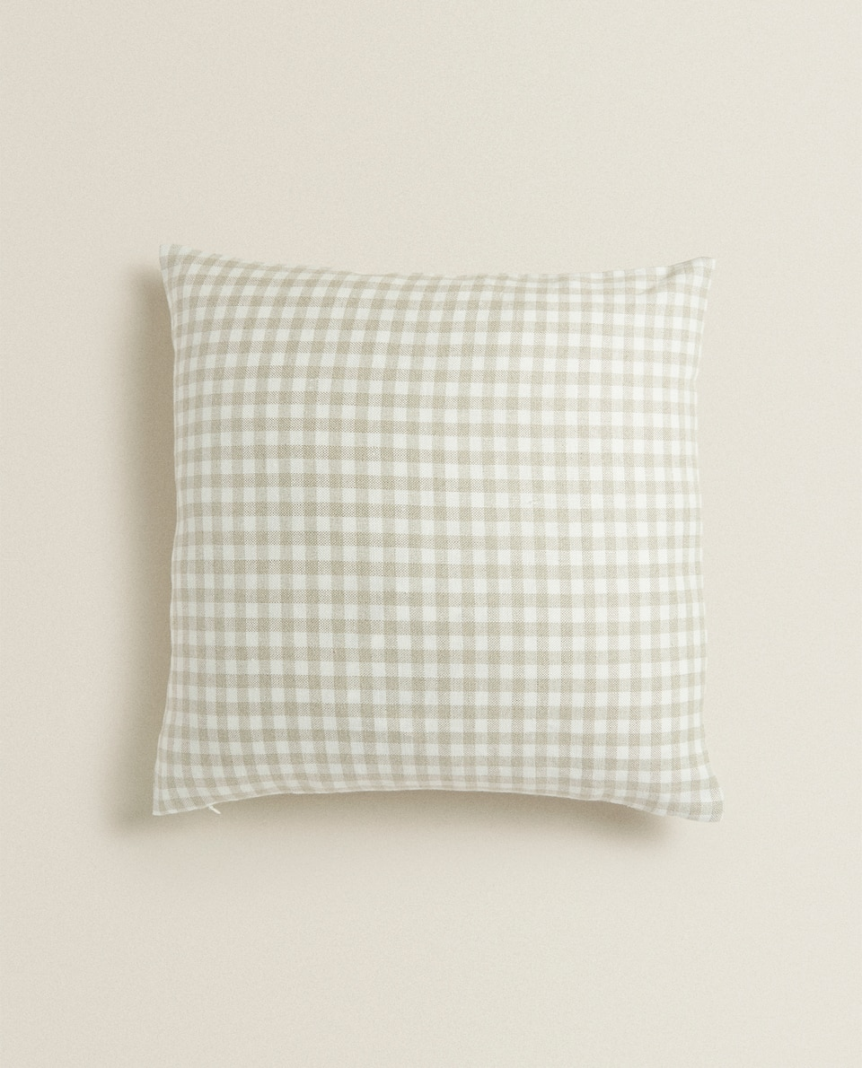 CHECKED LINEN CUSHION COVER