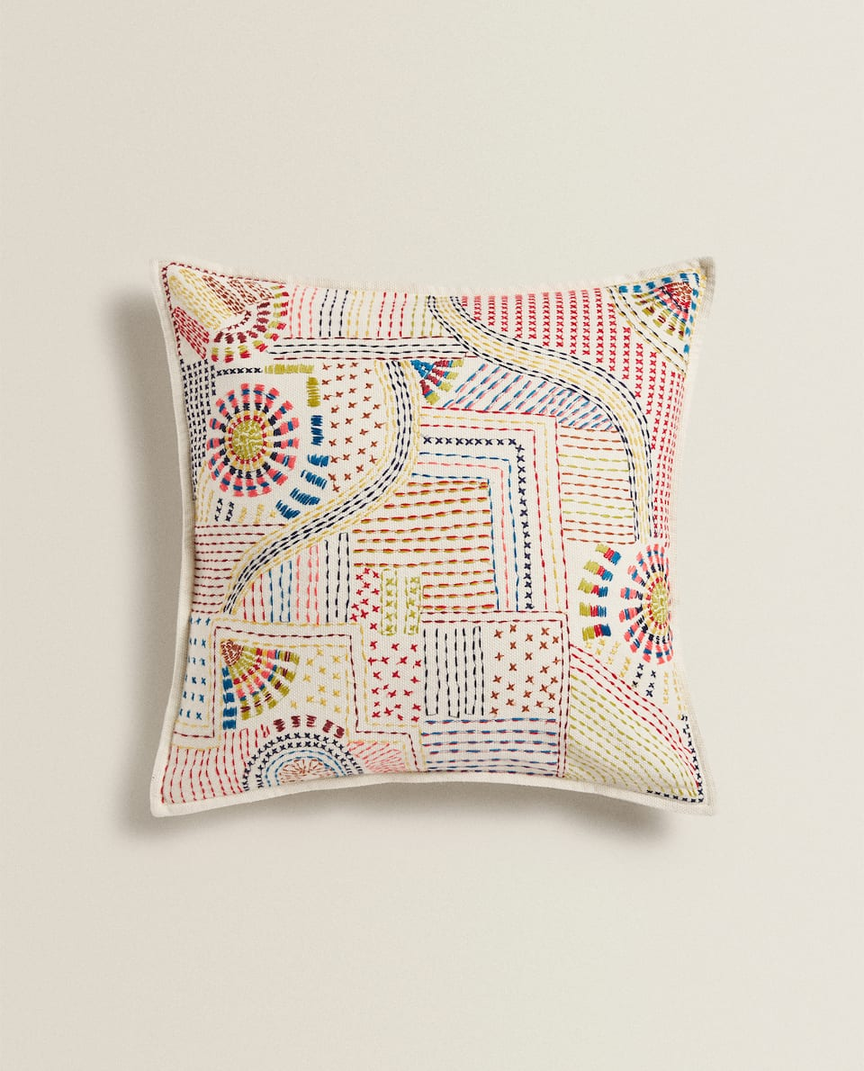 MULTICOLOURED EMBROIDERED CUSHION COVER