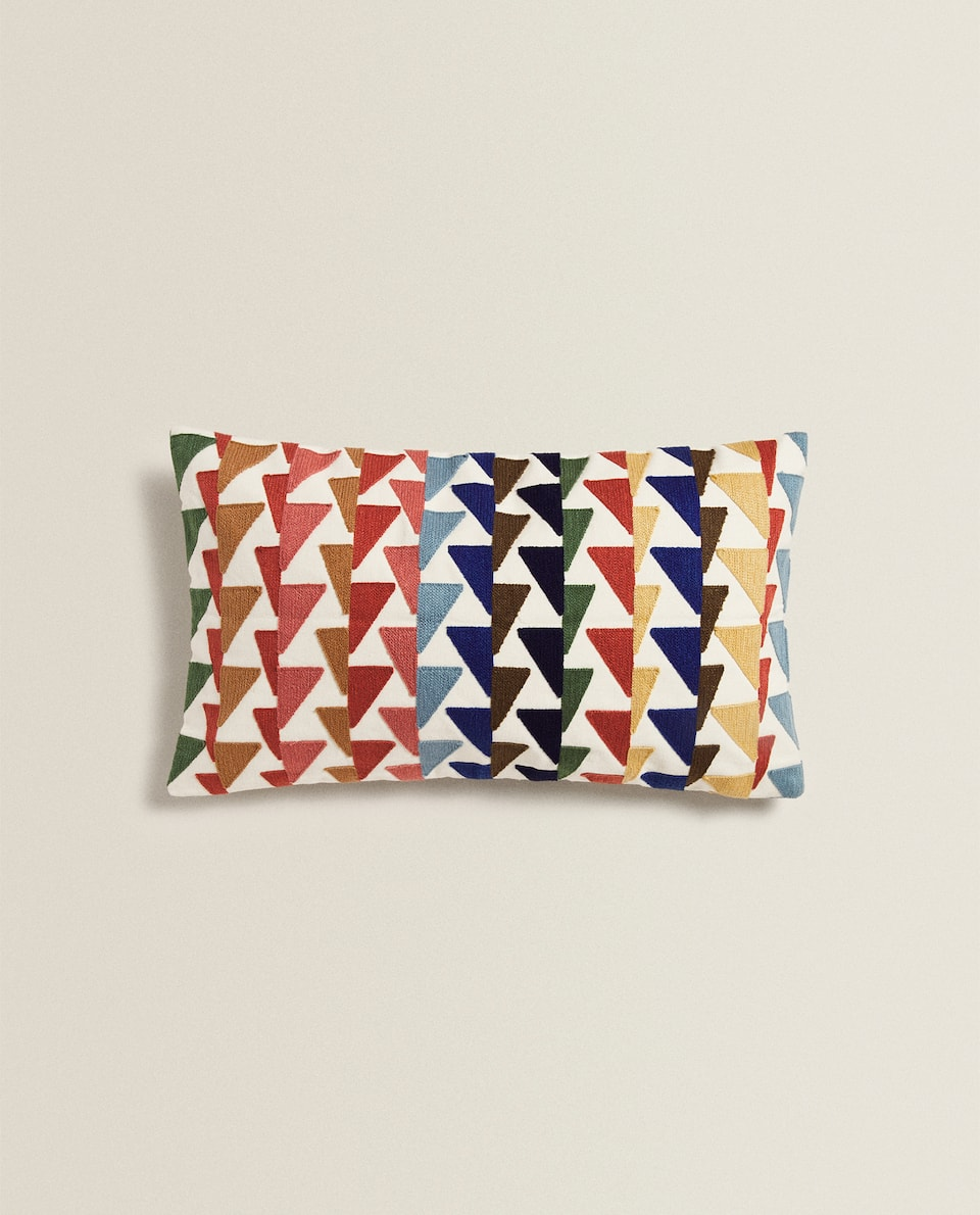 CUSHION COVER WITH TRIANGLE EMBROIDERY
