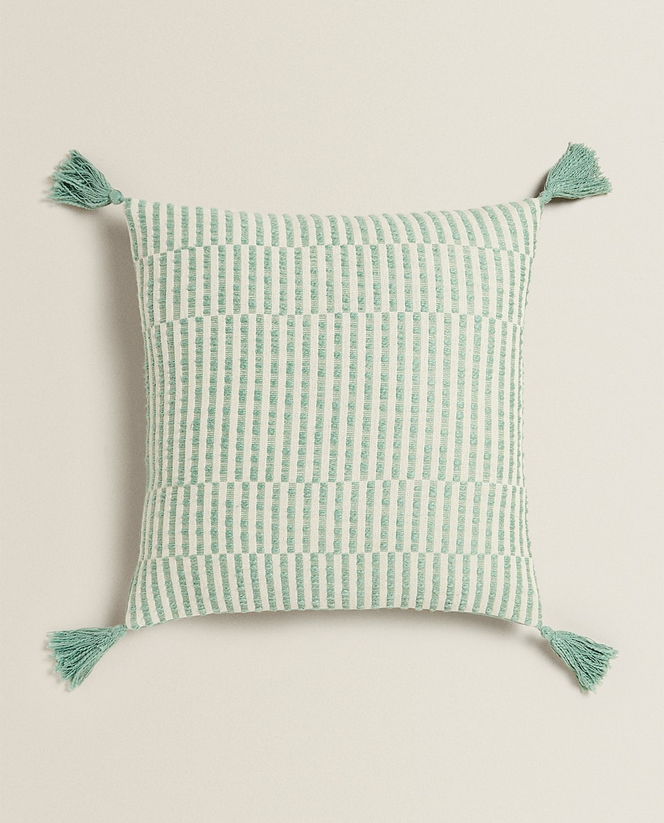 STRIPED CUSHION COVER WITH TASSELS