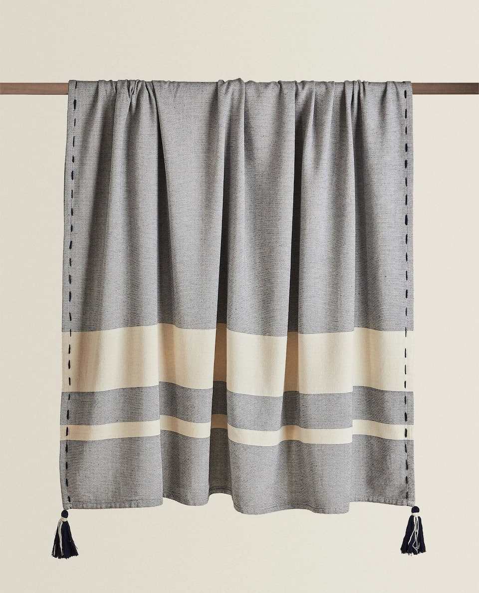 STRIPED BLANKET WITH TASSELS