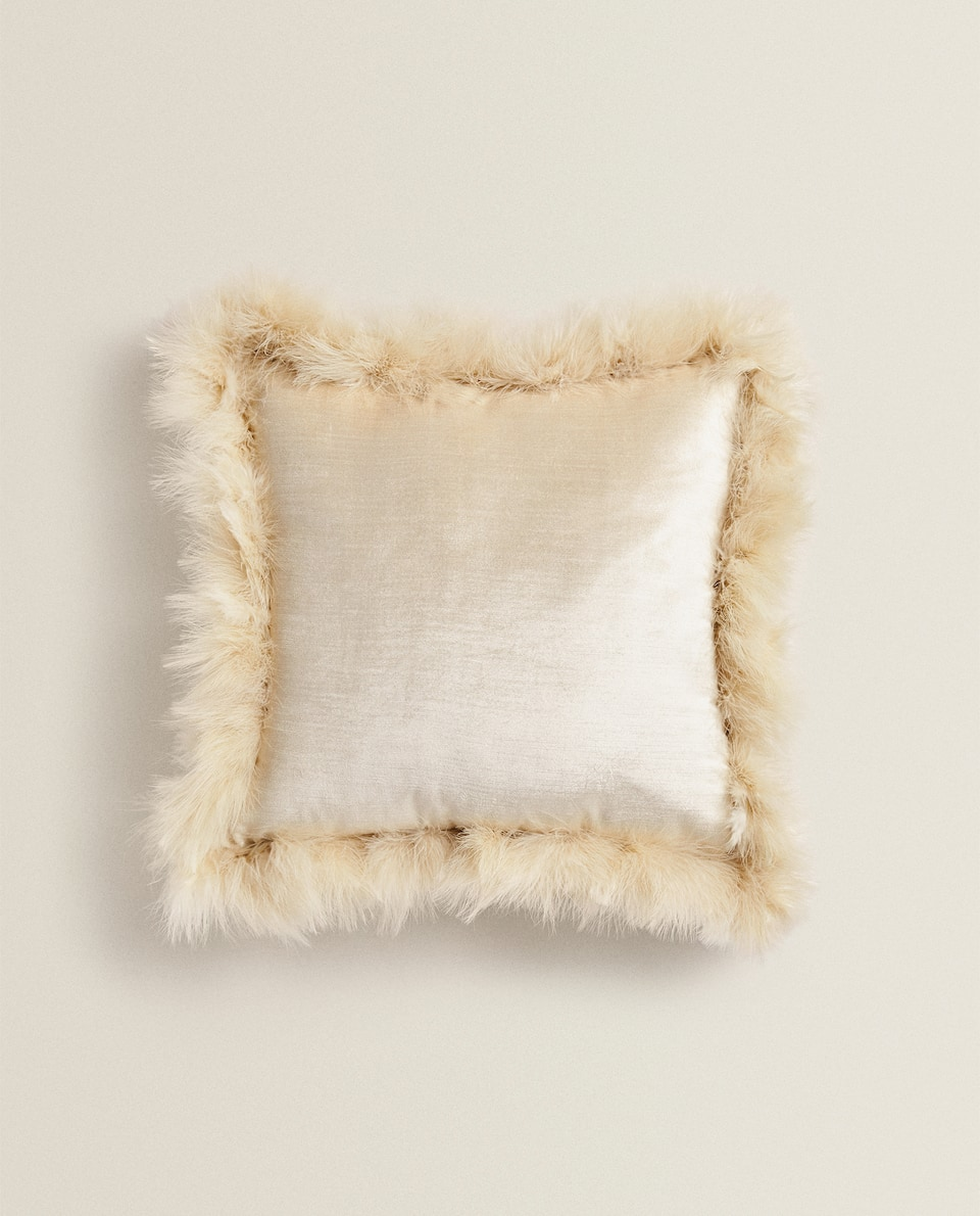 VELVET CUSHION WITH FEATHERS