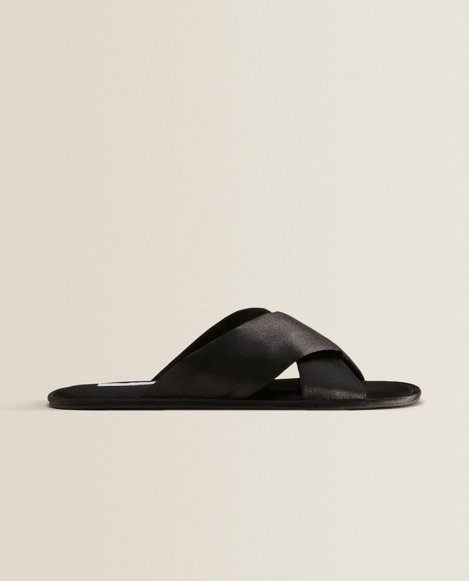 Satin crossover slippers