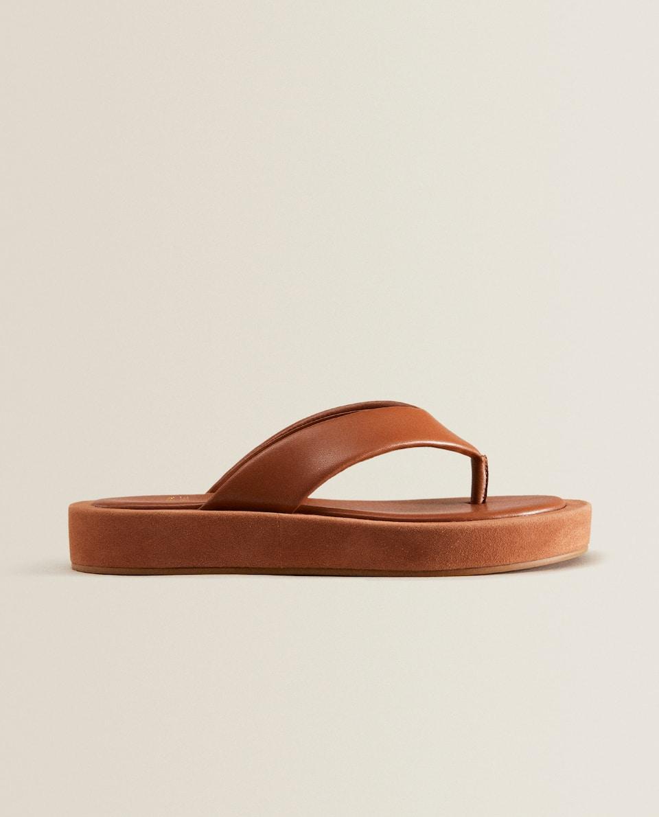 Sandalia plataforma piel