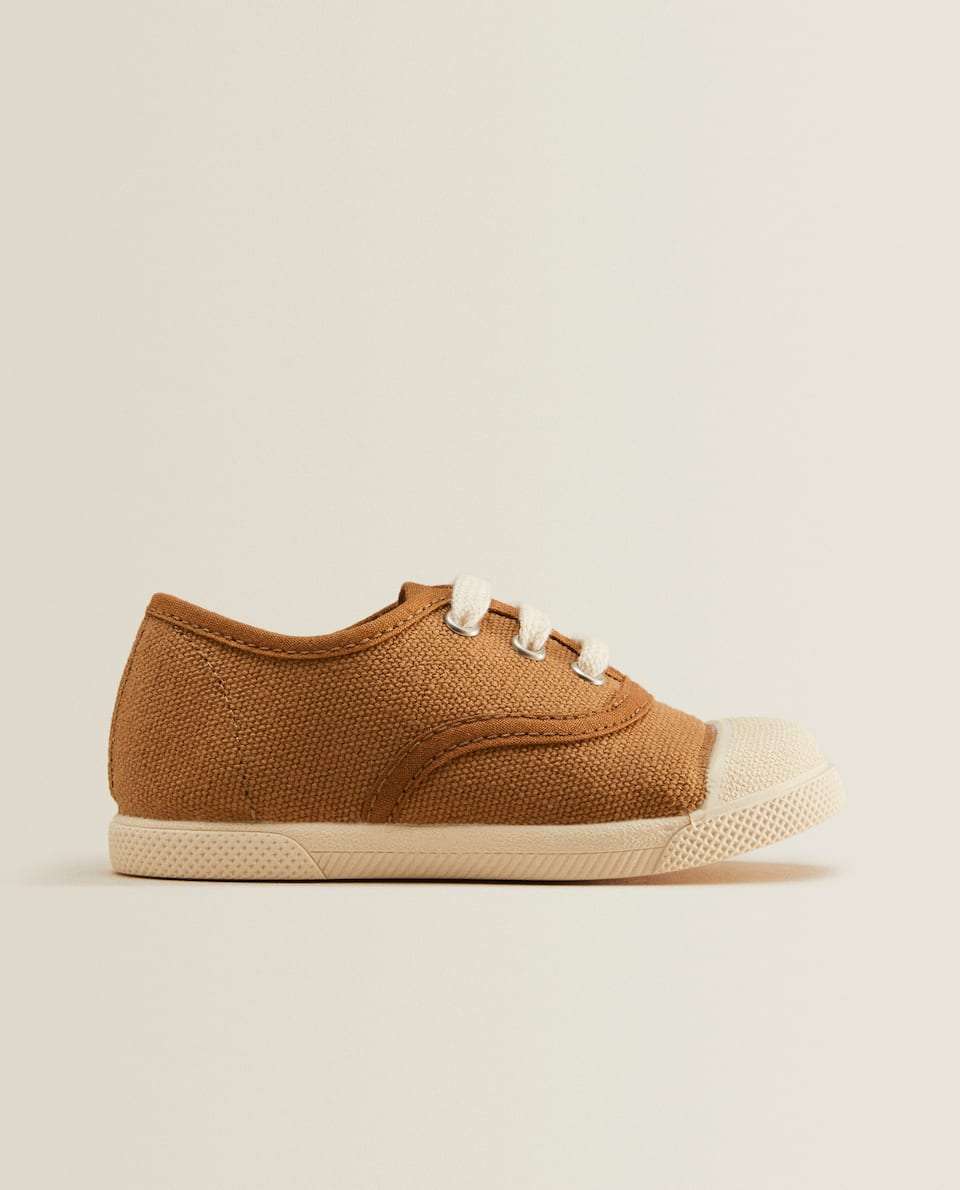 Lace-up fabric sneakers