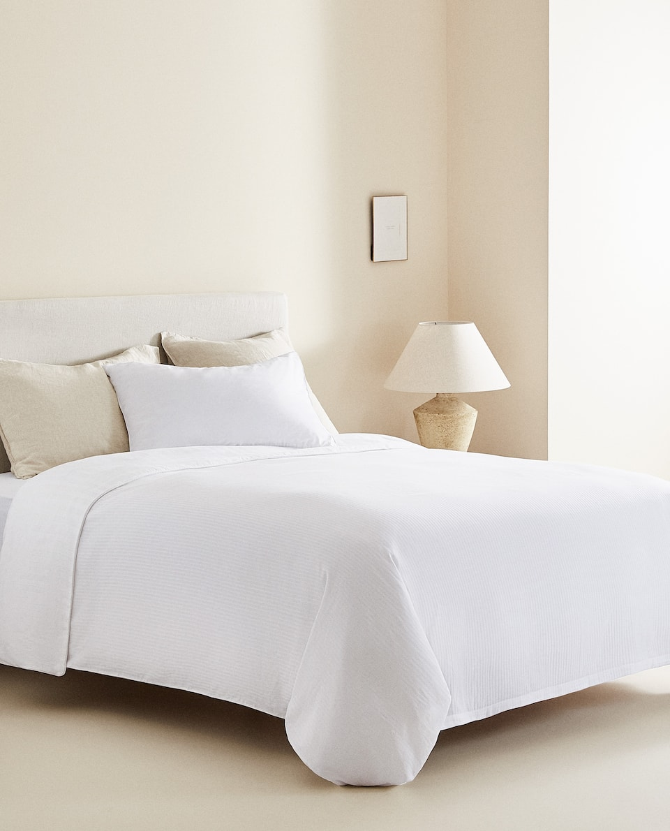 SATEEN DUVET COVER WITH JACQUARD STRIPES