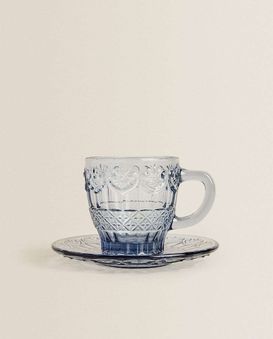 TAZZA DA CAFFÈ E PIATTINO IN VETRO BLU CON RILIEVO