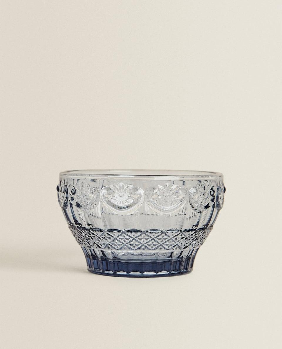 BLUE RAISED-DESIGN GLASS BOWL