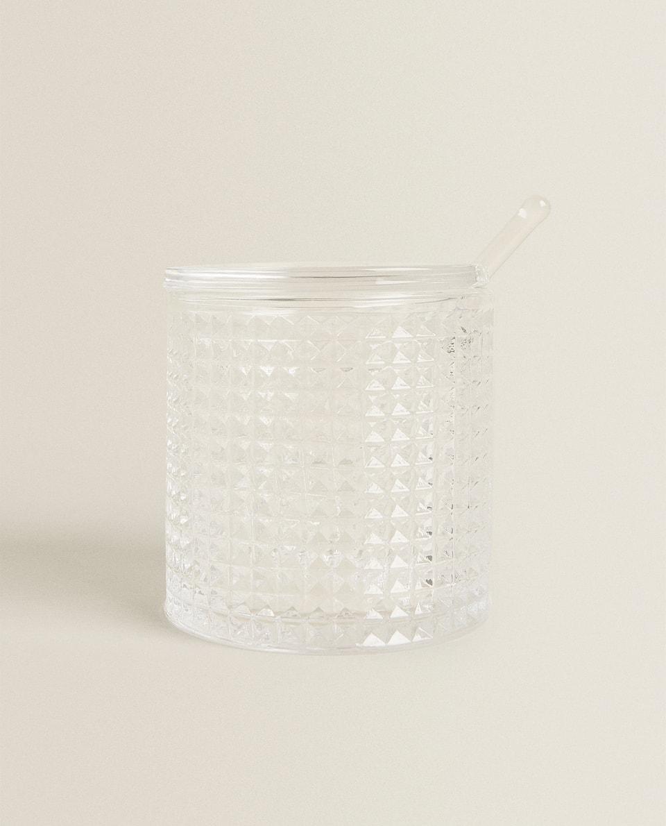 RIPPLED GLASS SUGAR BOWL