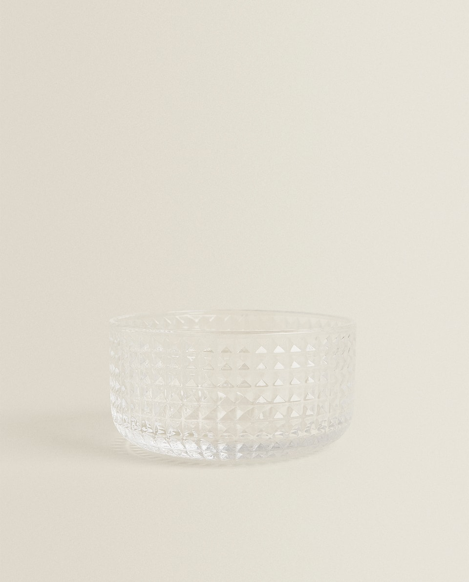 GLASS MINI BOWL WITH RAISED DETAIL
