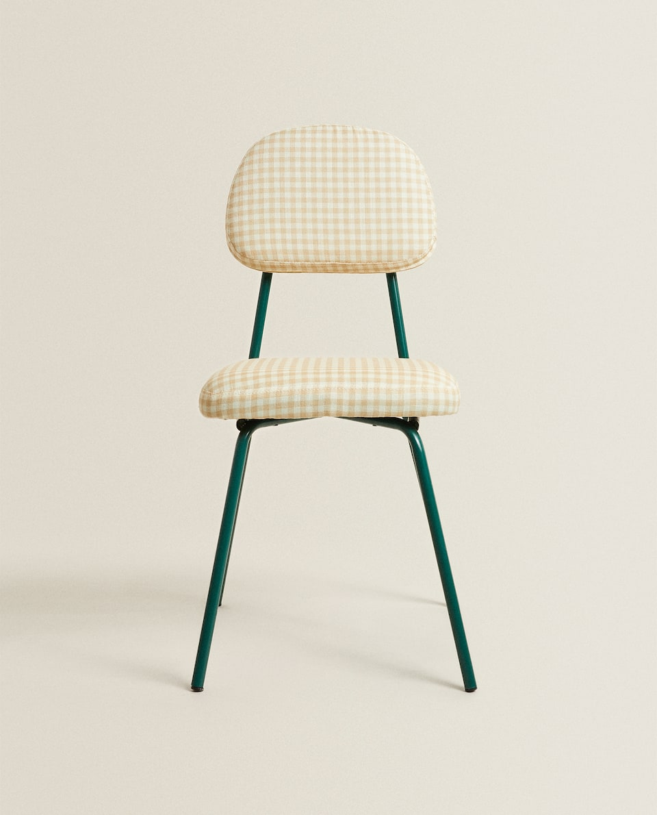 CHILDREN'S CHAIR WITH GINGHAM CHECK SEAT