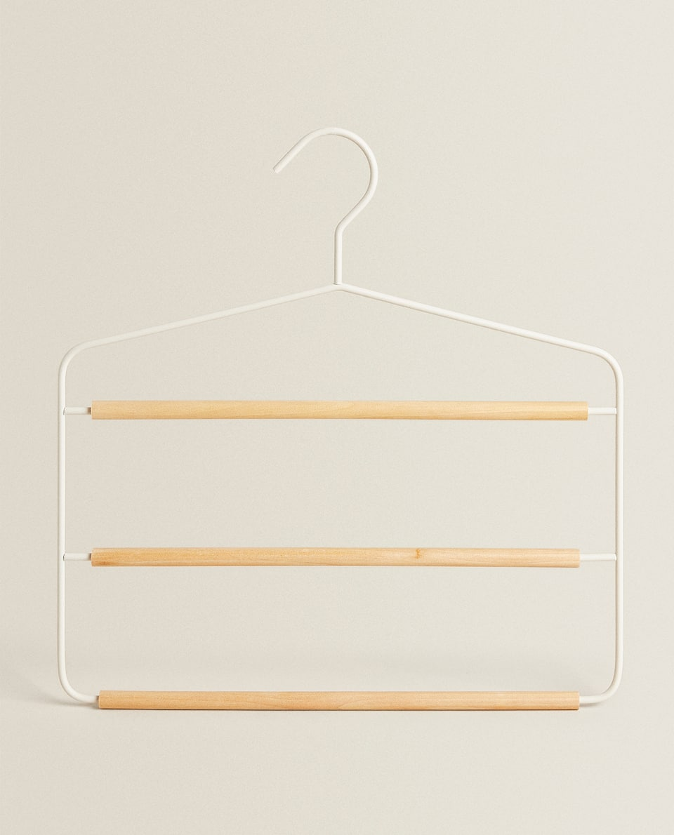 METAL AND WOOD TROUSER HANGER