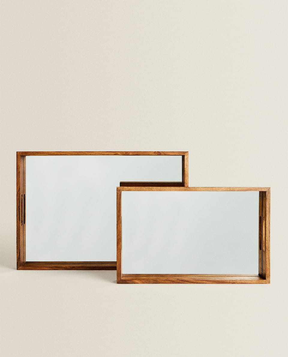WOOD AND MIRROR TRAY