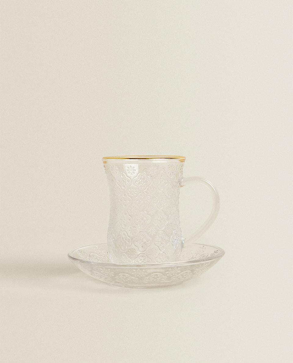 GOLD RIM PLATE AND TEA GLASS SET
