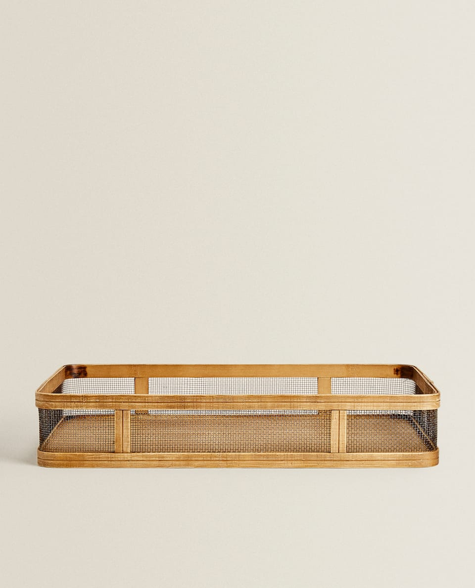 METAL AND WOOD TRAY