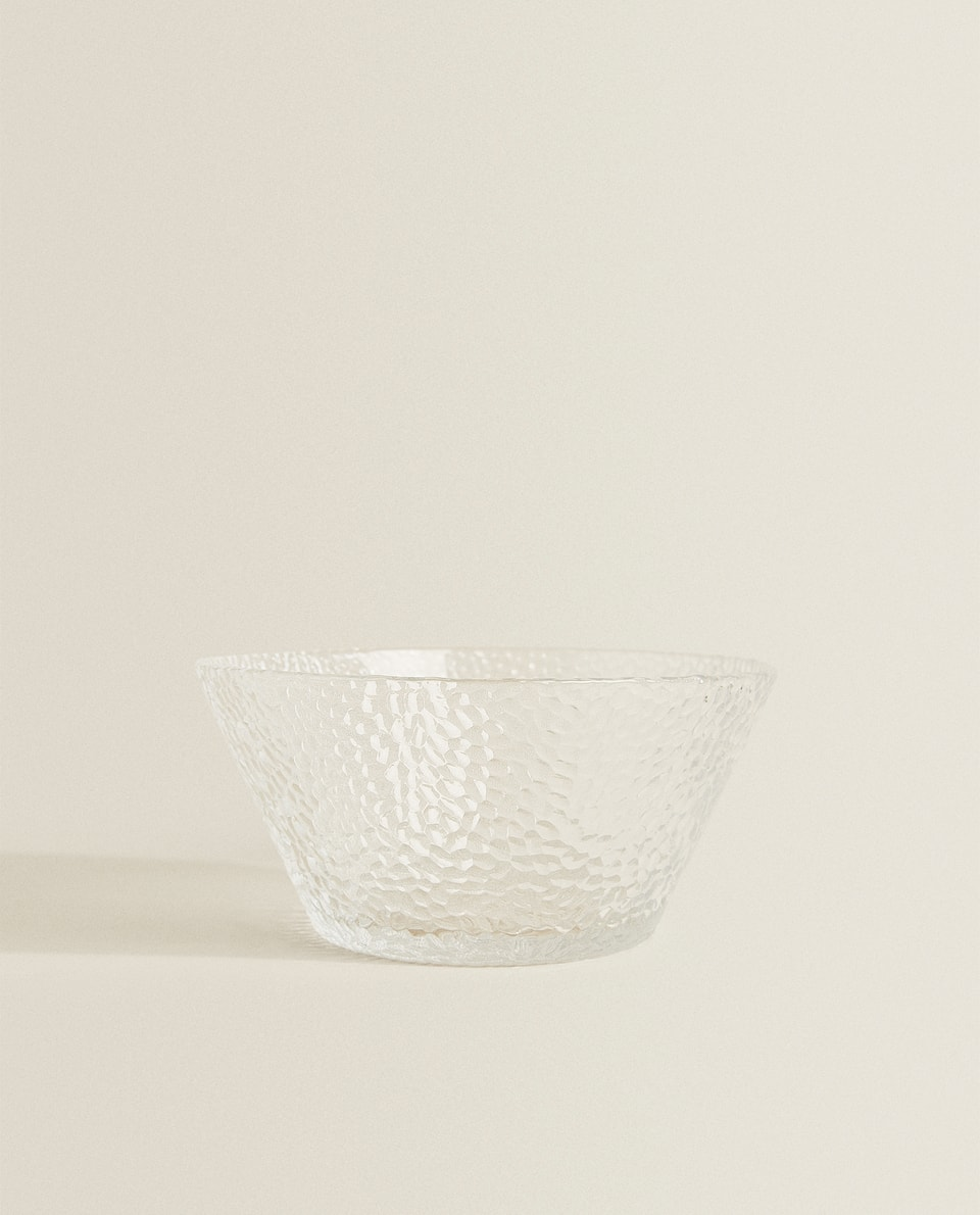 LARGE GLASS BOWL WITH RAISED DESIGN