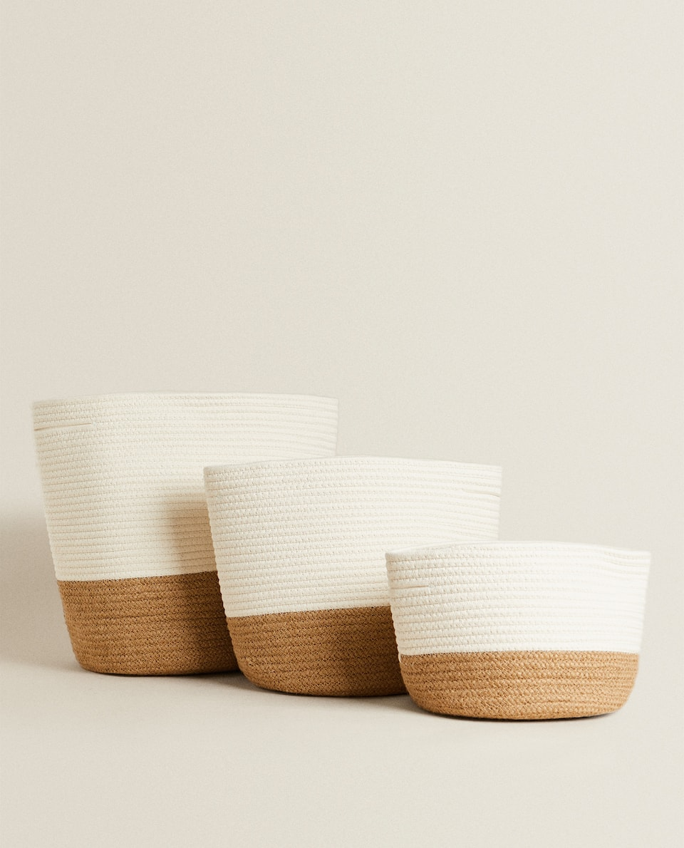 BASKET WITH CONTRAST HANDLES