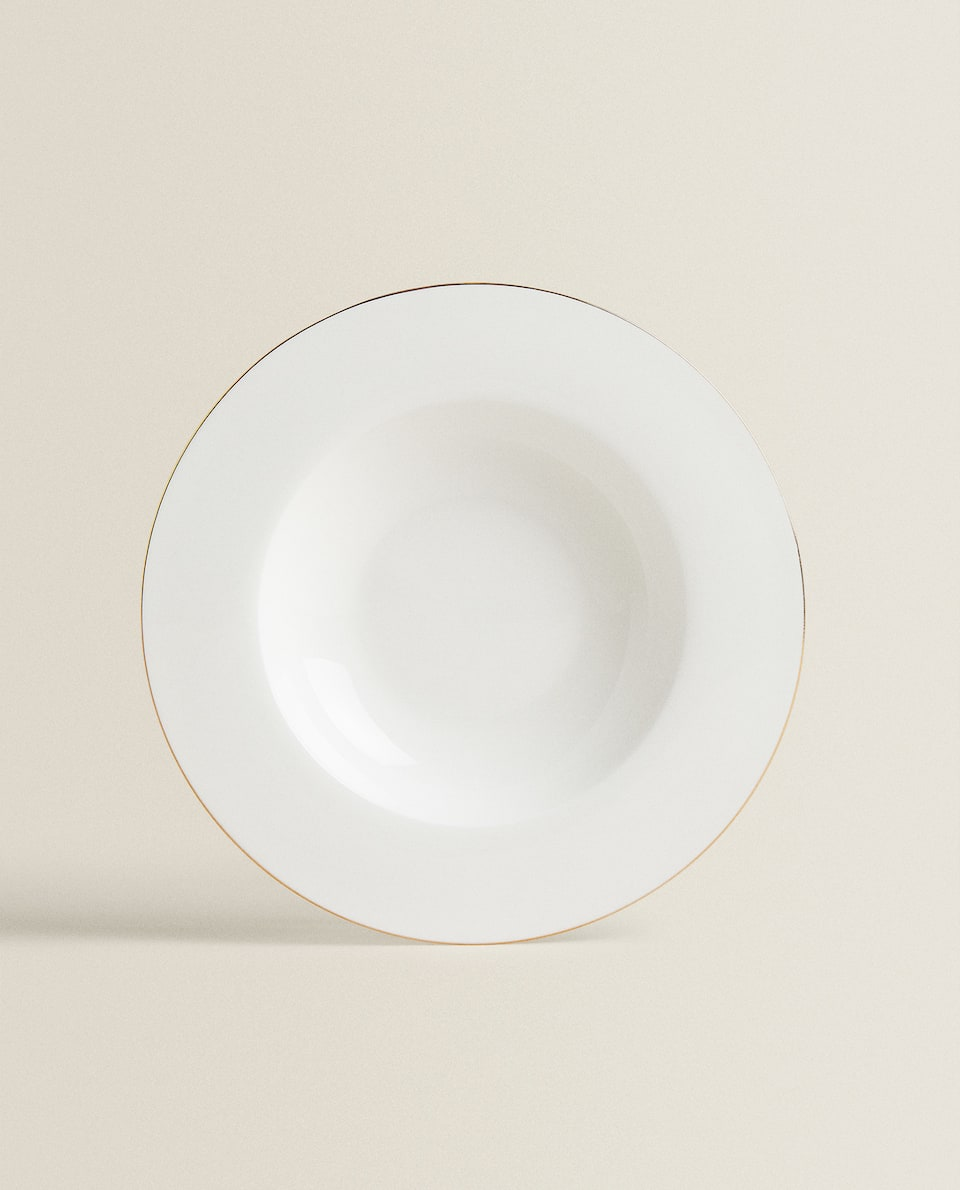 GOLD-RIMMED BONE CHINA SOUP PLATE