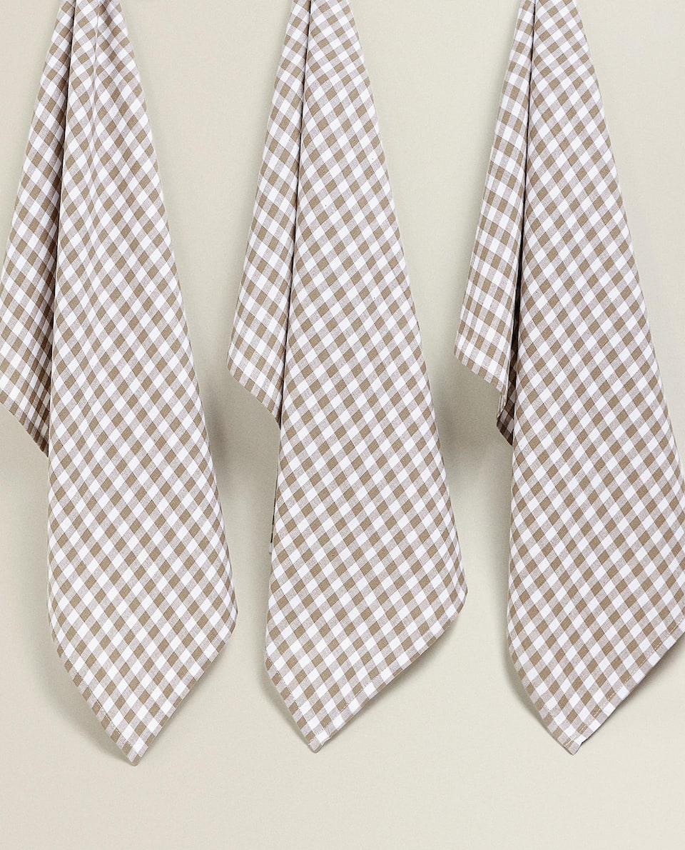 CHECK COTTON TEA TOWEL (PACK OF 3)