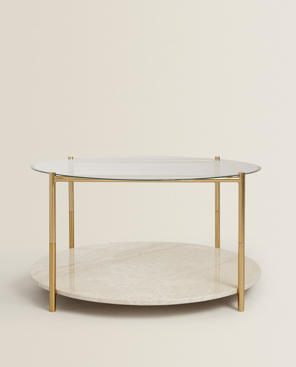 LARGE MARBLE AND GLASS TABLE