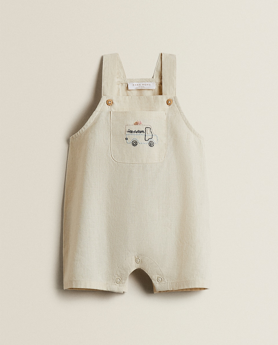 EMBROIDERED COTTON DUNGAREES