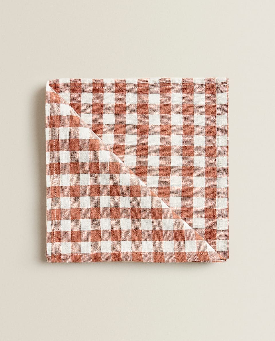 CHECK WASHED LINEN NAPKIN (PACK OF 2)