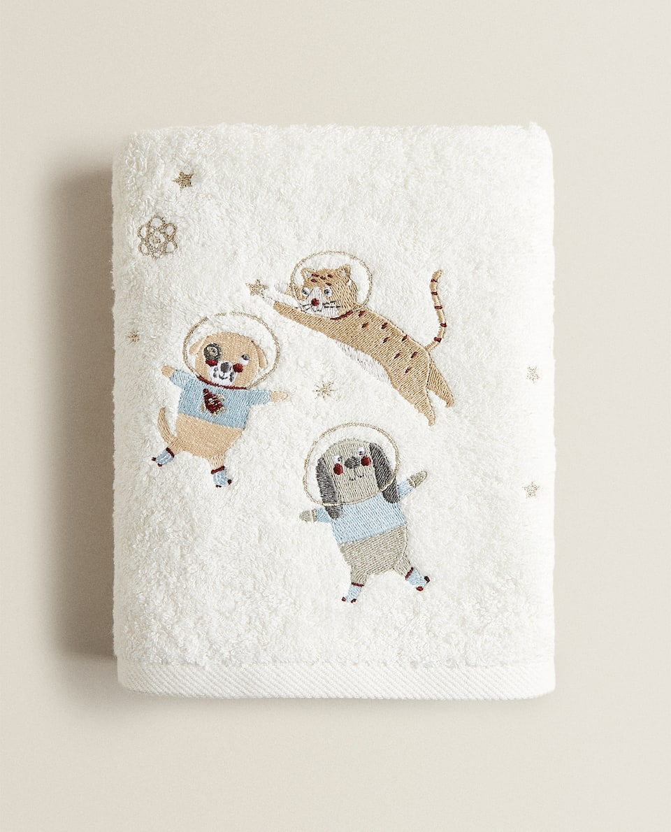 EMBROIDERED DOG ASTRONAUT TOWEL