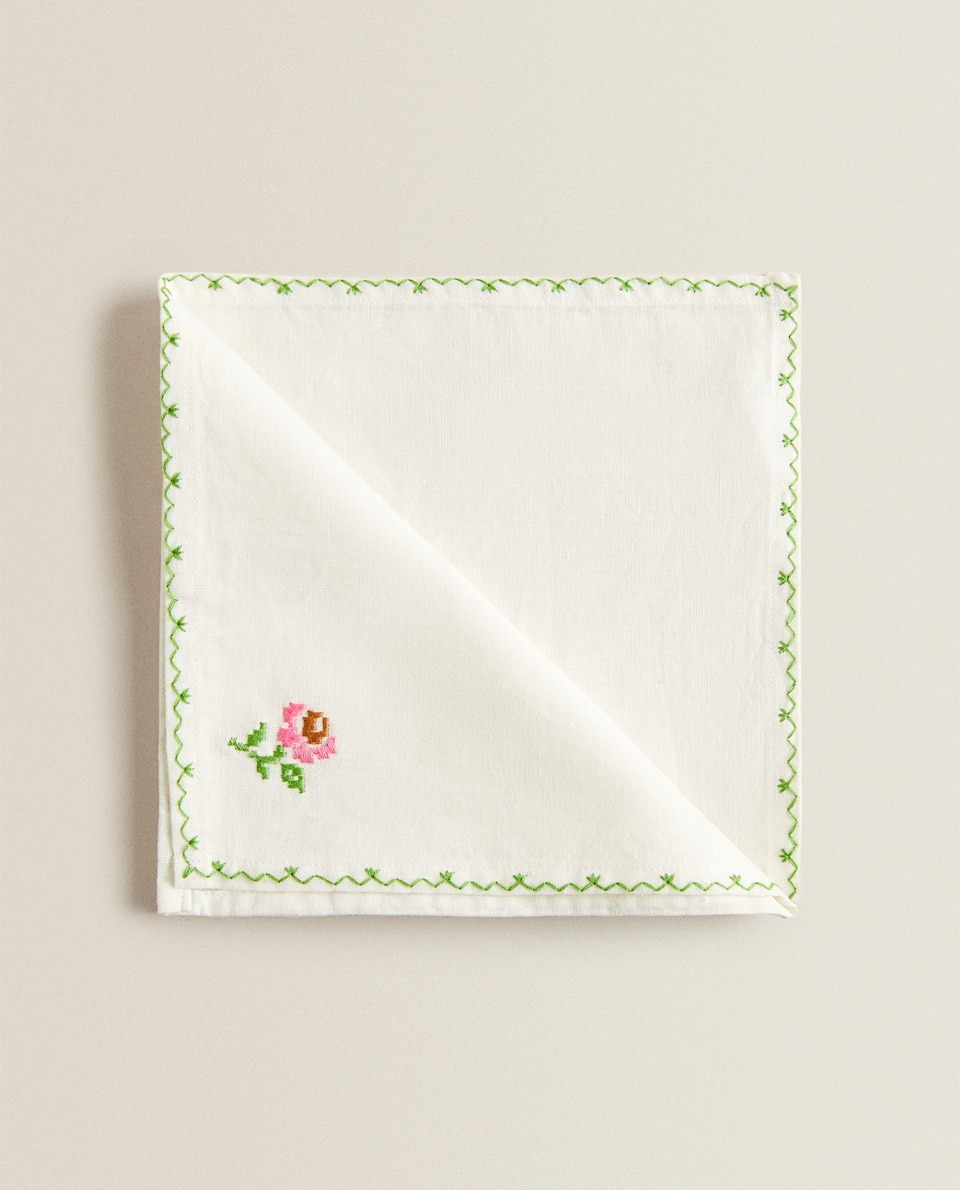 EMBROIDERED FLORAL PRINT NAPKIN (PACK OF 2)