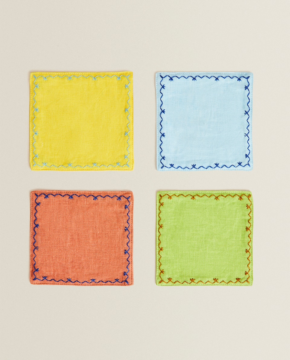 EMBROIDERED LINEN BLEND COASTERS (PACK OF 4)