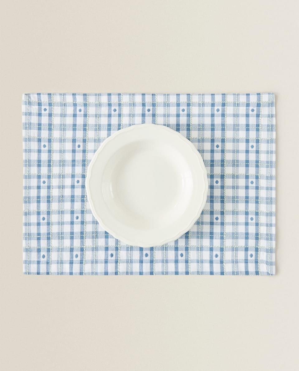 SET DE TABLE CARREAUX ET POIS (LOT DE 2)