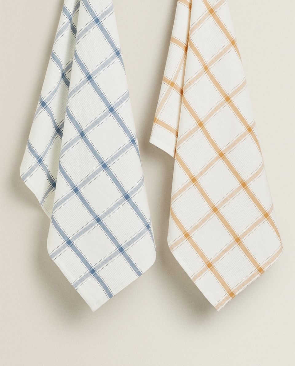 COTTON WAFFLE KNIT TEA TOWEL (PACK OF 2)