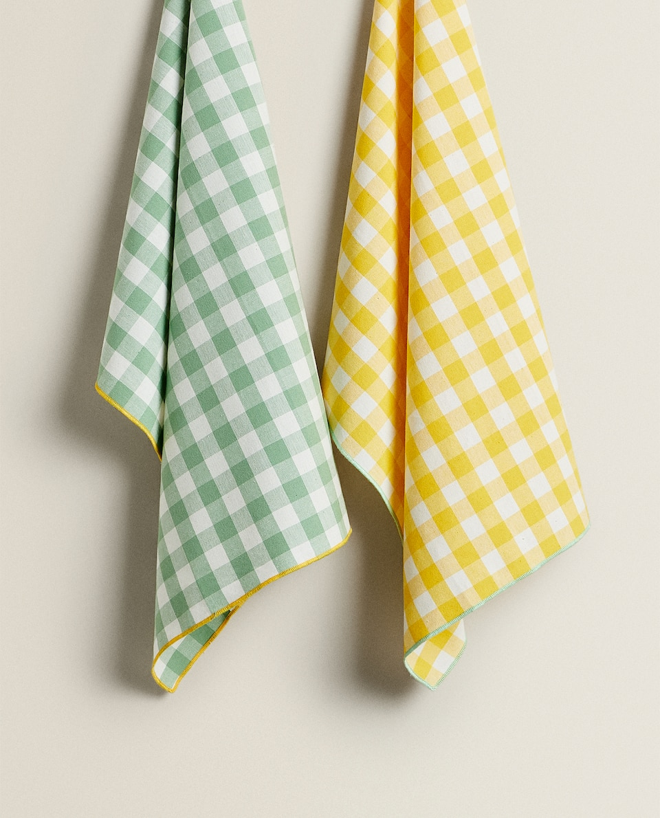 GINGHAM CHECK TEA TOWEL (PACK OF 2)