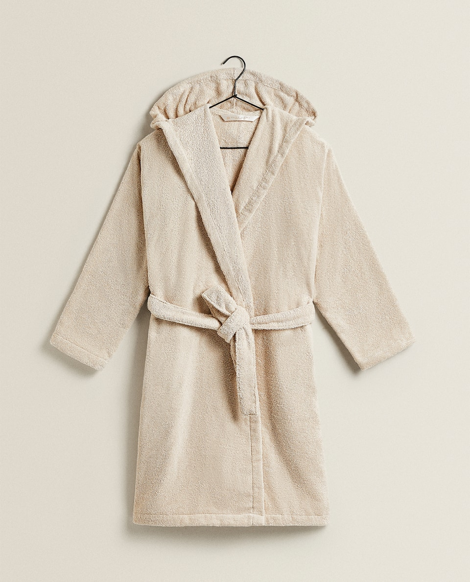 COTTON DRESSING GOWN WITH HOOD