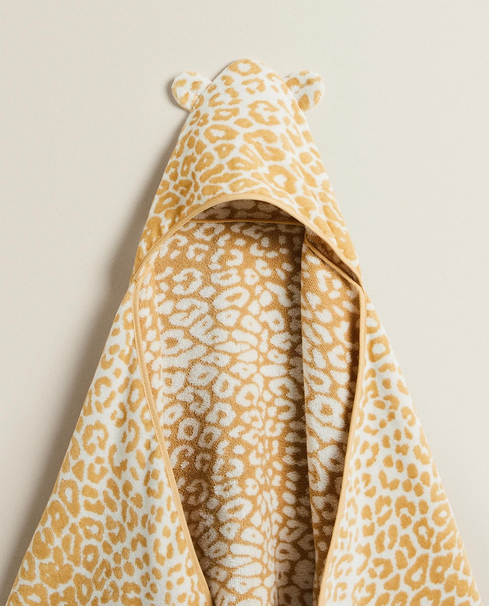 EMBROIDERED LEOPARD PRINT HOODED BABY TOWEL