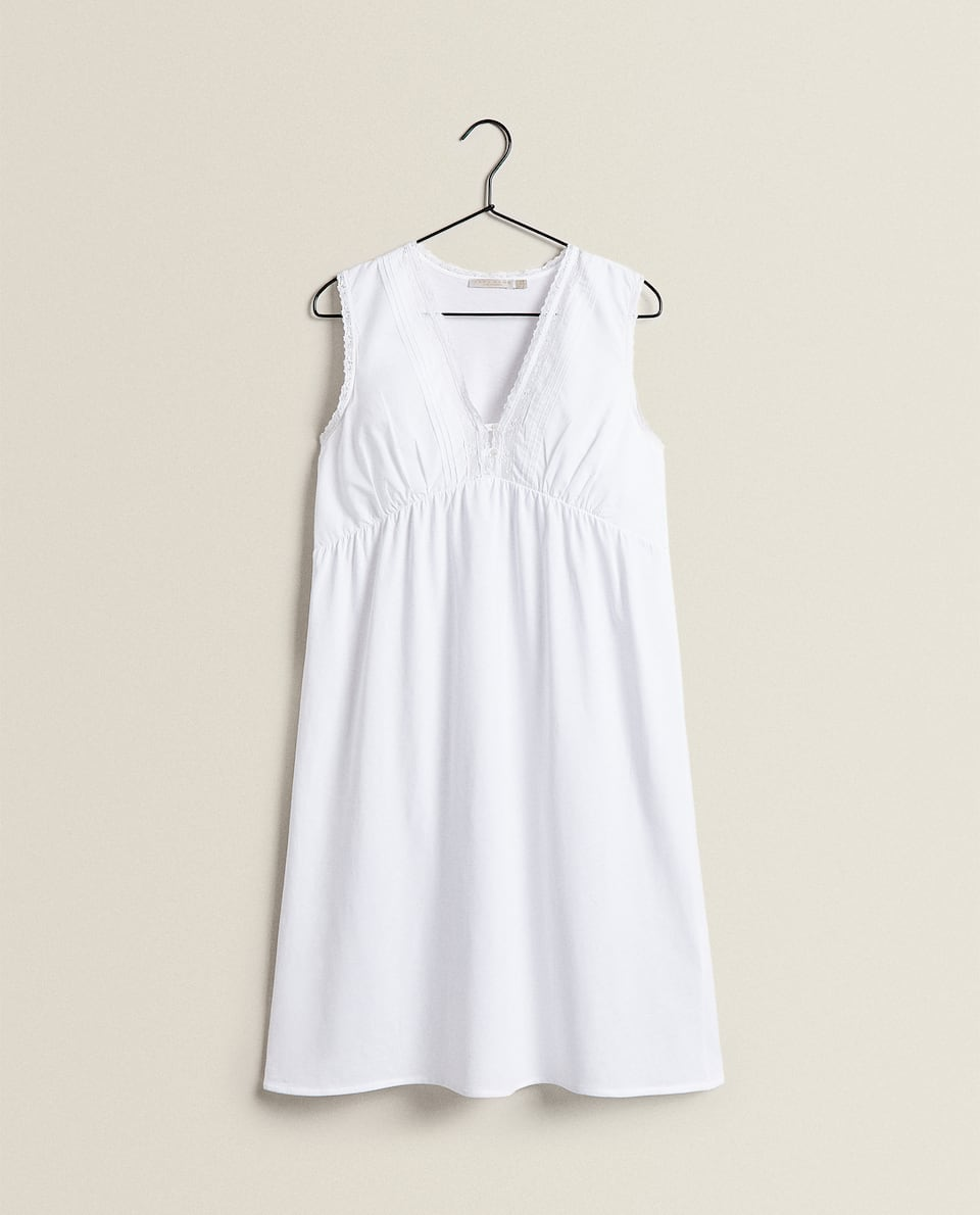 COTTON NIGHTDRESS WITH LACE TRIM